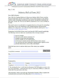 Hall of Fame Nomination PDF